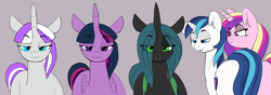 Size: 1701x602 | Tagged: safe, artist:pabbley, edit, editor:gutovi, princess cadance, queen chrysalis, shining armor, twilight sparkle, twilight velvet, alicorn, changeling, changeling queen, pony, unicorn, bisexual, brother and sister, cadalis, chrysarmordance, distracted boyfriend meme, eyes on the prize, female, incest, lesbian, male, mare, meme, milf, mother and son, polyamory, ponified meme, shining chrysalis, shiningcadance, shiningsparkle, shiningvelvet, shipping, smiling, smug, stallion, straight, twicest, twidance, twilight sparkle (alicorn), velvet cadance