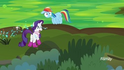 Size: 1920x1080 | Tagged: safe, screencap, rainbow dash, rarity, pegasus, pony, unicorn, the end in friend, azurantium, boots, butt, cattails, duo, female, flying, glitter boots, mare, neckerchief, plot, shoes, sparkles, water, wide eyes