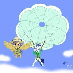 Size: 1500x1500 | Tagged: alternate color palette, alternate universe, artist:phallen1, atg 2018, clothes, cloud, daring do, daringverse, derpibooru exclusive, newbie artist training grounds, oc, oc:precious jade, parachute, parasailing, pulling, rarity, safe, sky, tow line