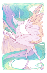 Size: 1098x1680 | Tagged: artist:eugenchen, bipedal, charades, colored wings, curved horn, cutie mark, eyes closed, horse play, princess celestia, rearing, safe, simple background, smiling, solo, spread wings, unshorn fetlocks, white background, wings