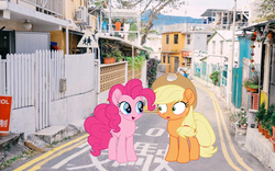 Size: 1920x1200 | Tagged: applejack, applepie, artist needed, date, editor:lisaloudleijon, female, hong kong, implied applepie, implied lesbian, implied shipping, lesbian, my little pony: the movie, need artist, pinkie pie, real life background, safe, shipping