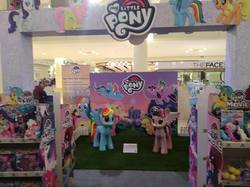 Size: 960x717 | Tagged: safe, photographer:horsesplease, applejack, fluttershy, pinkie pie, princess skystar, queen novo, rainbow dash, rarity, tempest shadow, twilight sparkle, alicorn, my little pony: the movie, irl, join the herd, malaysia, mane six, my little pony logo, photo, shopping mall, toy, twilight sparkle (alicorn), welcome to the herd