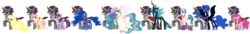 Size: 5665x766 | Tagged: safe, artist:roseprincessmitia, fluttershy, king sombra, nightmare moon, pinkie pie, princess celestia, princess luna, queen chrysalis, twilight sparkle, oc, oc:linda, alicorn, canon x oc, celestibra, chrysombra, evil celestia, female, king sombra gets all the mares, lumbra, male, shipping, sombrapie, sombrashy, straight, twibra, twilight sparkle (alicorn)