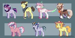 Size: 1280x650 | Tagged: safe, artist:kitkatsart, oc, oc only, oc:annabelle, oc:aura sparkle, oc:fire ruby, oc:honeycrisp, oc:pastel palette, oc:sugar cookie, oc:thunderstorm, bat pony, dracony, earth pony, hybrid, pegasus, pony, unicorn, adopted offspring, bat pony oc, blank flank, choker, clothes, cowboy hat, female, freckles, glasses, hat, headband, interspecies offspring, jewelry, male, mare, neckerchief, necklace, next generation, offspring, parent:applejack, parent:big macintosh, parent:cheese sandwich, parent:flash sentry, parent:fluttershy, parent:pinkie pie, parent:pokey pierce, parent:rainbow dash, parent:rarity, parent:soarin', parent:spike, parent:sweetie belle, parent:twilight sparkle, parents:flashlight, parents:fluttersandwich, parents:pokeypie, parents:rarimac, parents:soarindash, parents:spikebelle, peace symbol, pearl necklace, poncho, stallion, stetson, sun hat, unshorn fetlocks