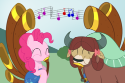 Size: 1200x800 | Tagged: artist:mightyshockwave, bow, duo, earth pony, eyes closed, female, grass, mare, music, music notes, pinkie pie, pony, safe, sky, spoiler:s08e18, yak, yakity-sax, yona, yovidaphone