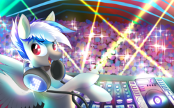 Size: 3200x2000 | Tagged: safe, artist:ask-colorsound, oc, oc only, oc:bassy, pegasus, pony, bust, crowd, disk jockey, headphones, looking at you, male, mixing console, music, open mouth, smiling, solo, spread wings, stallion, wings