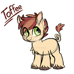 Size: 1024x1024 | Tagged: safe, artist:azure-art-wave, oc, oc:toffee, pandoraverse, colt, cute, interspecies offspring, male, next generation, offspring, offspring's offspring, parent:oc:oddball, parent:oc:truffles, parents:oc x oc, simple background, solo