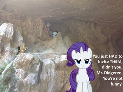 Size: 1024x765 | Tagged: artist:didgereethebrony, cave, dialogue, diamond dog, implied didgeree, irl, jenolan caves, looking at you, mlp in australia, offscreen character, photo, ponies in real life, pov, rarity, safe, unamused