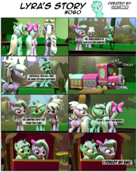 Size: 3929x4924 | Tagged: safe, artist:goatcanon, cloudchaser, flitter, lyra heartstrings, pegasus, pony, unicorn, comic:lyra's story, 3d, bow, comic, dialogue, female, friendship express, grass, hair bow, mare, open mouth, sky, source filmmaker, train, tree