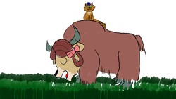 Size: 2048x1152 | Tagged: safe, artist:horsesplease, capper dapperpaws, yona, cat, yak, my little pony: the movie, :3, abyssinians doing cat things, bow, capperbetes, cloven hooves, cute, duo, eating, female, grass, grazing, hair bow, happy, herbivore, male, paint tool sai, sitting, smiling, yaks doing cow things, yaks doing yak things, yonadorable