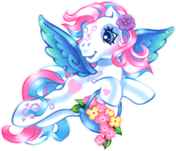 Size: 540x464   Tagged: safe, artist:lyn fletcher, edit, star catcher, pegasus, pony, g3, official, basket, female, flower, flower basket, flower in hair, flying, heart, heart eyes, heart hoof, mare, official art, scan, simple background, solo, swirly markings, transparent background, wingding eyes, wings