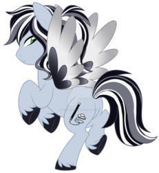 Size: 1024x1109 | Tagged: artist:azure-art-wave, deviantart watermark, magical lesbian spawn, nonbinary, obtrusive watermark, oc, oc:monochrome, offspring, parent:daring do, parent:rainbow dash, parents:daringdash, pegasus, plot, pony, safe, simple background, solo, transparent background, watermark