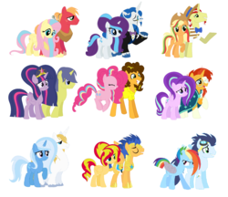 Size: 1856x1600 | Tagged: safe, artist:3d4d, applejack, big macintosh, cheese sandwich, comet tail, fancypants, flash sentry, flim, fluttershy, pinkie pie, prince blueblood, rainbow dash, rarity, soarin', starlight glimmer, sunburst, sunset shimmer, trixie, twilight sparkle, alicorn, earth pony, pegasus, pony, unicorn, alicornified, alternate hairstyle, amputee, augmented, bags under eyes, big crown thingy, big hair, bluetrix, cheesepie, cometlight, element of magic, female, flashimmer, flimjack, fluttermac, goggles, guard armor, jewelry, male, mare, prosthetic limb, prosthetic wing, prosthetics, race swap, rainbow power, raripants, regalia, shimmercorn, shipping, simple background, soarindash, starburst, starlicorn, straight, tattoo, torn ear, twilight sparkle (alicorn), white background, xk-class end-of-the-world scenario