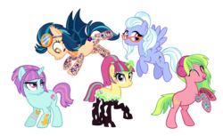 Size: 3278x2002   Tagged: safe, artist:flipwix, indigo zap, lemon zest, sour sweet, sugarcoat, sunny flare, bat pony, changeling, earth pony, pegasus, pony, unicorn, equestria girls, bandage, bat ponified, bipedal, bipedal leaning, changelingified, commission, crystal prep shadowbolts, cut, cute, cute little fangs, disguise, disguised changeling, ear piercing, earring, earth pony lemon zest, equestria girls ponified, eyebrow piercing, eyes closed, eyeshadow, fangs, female, flying, glasses, glowing horn, goggles, headband, headcanon, headphones, indigobat, jewelry, leaning, lip piercing, magic, makeup, mare, nose piercing, pegasus sugarcoat, piercing, ponified, race swap, raised eyebrow, rearing, shadow five, simple background, snake bites, sourling, species swap, tattoo, tongue piercing, transparent background, unicorn sunny flare, wall of tags