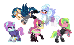 Size: 3278x2002 | Tagged: safe, alternate version, artist:flipwix, indigo zap, lemon zest, sour sweet, sugarcoat, sunny flare, bat pony, changeling, earth pony, pegasus, pony, unicorn, equestria girls, bandage, bat ponified, bipedal, bipedal leaning, boots, changelingified, choker, clothes, commission, crystal prep shadowbolts, cut, cute, cute little fangs, dirt, disguise, disguised changeling, ear piercing, earring, earth pony lemon zest, equestria girls ponified, eyebrow piercing, eyes closed, eyeshadow, fangs, female, flying, glasses, glowing horn, goggles, headband, headcanon, headphones, heart, hoodie, indigobat, jacket, jewelry, jumpsuit, leaning, leather jacket, lip piercing, magic, makeup, mare, mechanic, mud, nose piercing, oil, pegasus sugarcoat, piercing, pleated skirt, ponified, race swap, raised eyebrow, rearing, shadow five, shadowbolts, shoes, simple background, skirt, skull and crossbones, snake bites, socks, sourling, species swap, spiked choker, spiked wristband, stockings, striped socks, sunny flare's wrist devices, sweater, tattoo, thigh highs, tongue piercing, torn clothes, transparent background, unicorn sunny flare, wall of tags, wristband