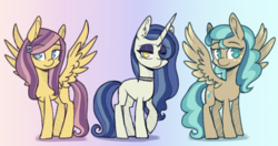 Size: 950x500 | Tagged: safe, artist:duo-moon-adopts, oc, pegasus, pony, unicorn, female, hair over one eye, looking at you, mare, offspring, parent:minty mocha, parent:moonlight raven, parent:sunshower, parent:whirlwind romance, parents:mintyshower, parents:moonshower, parents:whirlshower