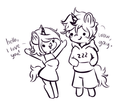 Size: 500x422 | Tagged: safe, artist:wickedsilly, oc, oc only, oc:sleepy head, oc:wicked silly, anthro, unicorn, clothes, dialogue, female, male, monochrome, open mouth, shorts, smiling, straight, sweater