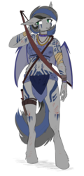 Size: 1510x3139 | Tagged: safe, artist:the-minuscule-task, oc, oc only, oc:nightglider, bat pony, anthro, unguligrade anthro, anthro oc, bandage, bat pony oc, belly button, body markings, body painting, body writing, bow (weapon), bracelet, breasts, facial markings, fangs, female, holster, jewelry, knife, loincloth, markings, multicolored hair, necklace, quiver, reasonably sized breasts, sash, scabbard, scrapes, scratches, short hair, solo, tattoo, tribal, tribal clothes, tribal clothing, tribal jewelry, tribal markings, tribal tattoo, weapon