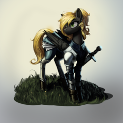 Size: 1600x1600 | Tagged: safe, artist:nsilverdraws, oc, oc only, oc:veen sundown, horse, pegasus, pony, armor, armor skirt, blonde, clothes, detailed, female, grass, green eyes, leather, majestic, mare, pretty, scabbard, shading, simple background, skirt, solo, standing, steel, sundown clan, sword, weapon