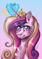 Size: 215x301 | Tagged: artist:mlp-norica, blushing, chest fluff, cropped, cutie mark background, ear fluff, edit, female, fluffy, gradient background, jewelry, looking at you, mare, pony, princess cadance, safe, smiling, solo, tiara