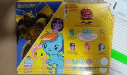Size: 862x511 | Tagged: safe, photographer:sunshinesmiles, fluttershy, pinkie pie, rainbow dash, rarity, twilight sparkle, bumblebee (transformers), cutie mark crew, happy (mcdonalds), happy meal, irl, mcdonald's, mcdonald's happy meal toys, photo, toy, transformers, united states