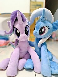 Size: 768x1024   Tagged: safe, artist:nekokevin, starlight glimmer, trixie, pony, unicorn, series:nekokevin's glimmy, cute, diatrixes, duo, female, glimmerbetes, hug, irl, looking at you, mare, photo, plushie, sitting, smiling