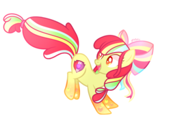 Size: 2577x1921 | Tagged: safe, artist:chaostrical, artist:serathrix, apple bloom, earth pony, pony, base used, female, rainbow power, rainbow power-ified, simple background, solo, transparent background
