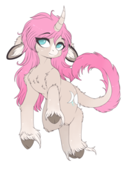 Size: 3120x4160 | Tagged: artist:meggchan, artist:sunshine, chest fluff, classical unicorn, cloven hooves, curved horn, digital art, ear piercing, edit, female, floppy ears, fluffy, freckles, leonine tail, long mane, long tail, looking at you, mare, oc, oc only, oc:tarot, palomino, piercing, pink mane, pony, safe, simple background, solo, transparent background, unicorn, unshorn fetlocks