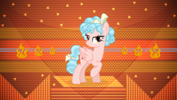 Size: 3840x2160   Tagged: safe, artist:laszlvfx, artist:suramii, edit, cozy glow, pegasus, pony, season 8, abstract background, female, lidded eyes, mare, older, older cozy glow, pure concentrated unfiltered evil of the utmost potency, raised hoof, solo, spoilers in source, wallpaper, wallpaper edit