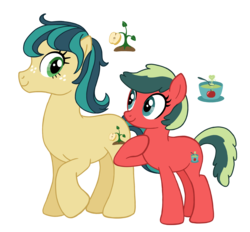 Size: 2803x2604 | Tagged: artist:flipwix, duo, earth pony, female, magical lesbian spawn, mare, next generation, oc, oc:honeycrisp, oc:jazz apple, oc only, offspring, parent:applejack, parent:coloratura, parents:rarajack, pony, safe, simple background, transparent background