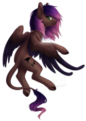 Size: 1757x2487   Tagged: safe, artist:doekitty, oc, oc only, oc:evening howler, pony, colored wings, female, flying, gradient mane, jewelry, leonine tail, looking at you, mare, pendant, profile, simple background, smiling, solo, spread wings, transparent background, two toned wings, underhoof, wings