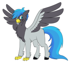 Size: 2975x2527   Tagged: safe, artist:starstrucksocks, oc, oc only, oc:dynamo gust, classical hippogriff, hippogriff, 2019 community collab, derpibooru community collaboration, cheek fluff, chest fluff, cute, ear fluff, floppy ears, fluffy, hoof fluff, leg fluff, looking at you, male, messy mane, neck fluff, ocbetes, simple background, smiling, solo, spread wings, standing, transparent background, unshorn fetlocks