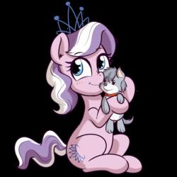 Size: 512x512   Tagged: safe, artist:anibaruthecat, diamond tiara, oc, oc:blaze, earth pony, pony, cute, diamondbetes, female, filly, plushie, simple background, sitting, smiling, solo, transparent background