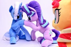 Size: 1024x682 | Tagged: safe, artist:nekokevin, starlight glimmer, sunset shimmer, trixie, pony, unicorn, series:nekokevin's glimmy, counterparts, cute, diatrixes, female, glimmerbetes, hoofbump, irl, looking at each other, magical trio, mare, photo, plushie, raised hoof, shimmerbetes, sitting, smiling, twilight's counterparts