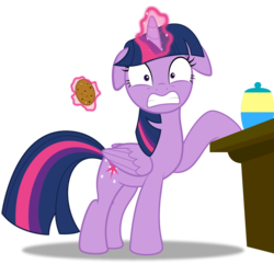 Size: 1255x1209 | Tagged: safe, artist:spellboundcanvas, twilight sparkle, alicorn, friendship university, caught, cookie, cookie thief, cute, exposed, floppy ears, food, glowing horn, magic, magic aura, pure unfiltered evil, simple background, solo, transparent background, twiabetes, twilight sparkle (alicorn), twilight stealing a cookie