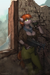 Size: 900x1350 | Tagged: anthro, anthro oc, artist:margony, bandaid, brick wall, broken glass, clothes, commission, digital art, dust, earth pony, female, fingerless gloves, gloves, grenade, gun, jacket, mare, mp5k, oc, oc:aurous affect, oc only, pants, safe, signature, solo, taking cover, uniform, weapon, window, ych result