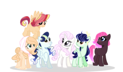 Size: 2808x1636 | Tagged: artist:iheyyasyfox, base used, bonnet, earth pony, female, magical lesbian spawn, mare, oc, oc only, offspring, parent:applejack, parent:big macintosh, parent:fleur-de-lis, parent:fluttershy, parent:pinkie pie, parent:rainbow dash, parent:rarity, parents:fleurity, parents:fluttermac, parent:soarin', parents:soarinjack, parents:sunsetdash, parents:tempestpie, parent:sunset shimmer, parents:vaporlight, parent:tempest shadow, parent:twilight sparkle, parent:vapor trail, pegasus, pony, safe, simple background, transparent background, unicorn