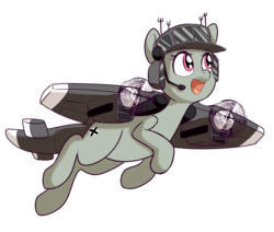 Size: 1590x1348   Tagged: safe, artist:anibaruthecat, oc, oc only, oc:dorn, original species, plane pony, pony, female, mare, open mouth, plane, simple background, solo, transparent background