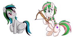 Size: 2811x1483   Tagged: safe, artist:anibaruthecat, oc, oc only, oc:tennet, earth pony, pony, unicorn, crossbow, simple background, smiling, transparent background