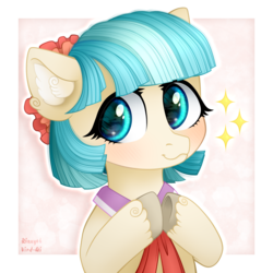 Size: 1500x1500 | Tagged: safe, artist:rizzych, artist:vird-gi, coco pommel, earth pony, pony, blushing, cocobetes, collaboration, cute, ear fluff, female, looking at you, mare, smiling, solo, unshorn fetlocks