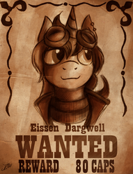 Size: 2042x2671 | Tagged: artist:jamescorck, fallout, fallout equestria, goggles, male, oc, oc:eissen, oc only, pony, reward, safe, sketch, stable, stallion, the hopeful four, unicorn, wanted poster, western