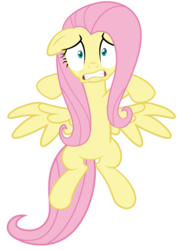 Size: 887x1250 | Tagged: artist:spellboundcanvas, fluttershy, pegasus, pony, safe, scared, scare master, simple background, solo, transparent background, vector, wings, wings down