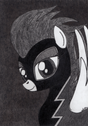 Size: 2440x3504 | Tagged: safe, artist:aracage, nightshade, bust, charcoal drawing, clothes, costume, female, portrait, shadowbolts, shadowbolts (nightmare moon's minions), shadowbolts costume, solo, traditional art