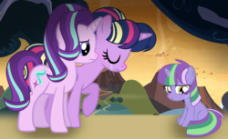 Size: 2260x1380 | Tagged: safe, artist:leanne264, starlight glimmer, twilight sparkle, oc, oc:violet light, alicorn, dracony, hybrid, pony, crying, female, filly, interspecies offspring, mother and daughter, offspring, parent:spike, parent:twilight sparkle, parents:twispike, twilight sparkle (alicorn)