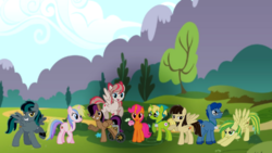 Size: 2976x1676 | Tagged: safe, artist:leandrovalhalla, angel wings, bittersweet (character), holly dash, leadwing, stellar eclipse, wild fire, oc, oc:dance illusions, oc:wooden toaster, black gryph0n, fandom, ponyville