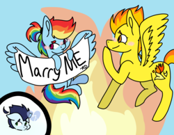Size: 2700x2100 | Tagged: artist:arrow-bow, female, implied shipping, implied soarindash, implied soarinfire, implied straight, jealous, lesbian, rainbow dash, safe, shipping, soarin', spitdash, spitfire