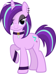 Size: 3435x4500 | Tagged: safe, artist:slb94, starlight glimmer, pony, unicorn, bedroom eyes, choker, ear piercing, earring, edgelight glimmer, female, glimmer goth, goth, goth pony, gothic, jewelry, lidded eyes, looking at you, makeup, mare, piercing, simple background, smiling, solo, teenage glimmer, teenager, transparent background, vector, wristband