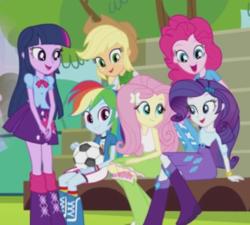 Size: 613x552 | Tagged: safe, screencap, applejack, fluttershy, pinkie pie, rainbow dash, rarity, twilight sparkle, alicorn, equestria girls, equestria girls (movie), cropped, female, group, humane five, humane six, mane six, twilight sparkle (alicorn)