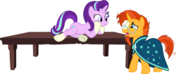Size: 4500x1885 | Tagged: absurd res, artist:cloudyglow, artist:r3ap3rg, clothes, female, glasses, hooves on face, looking down, looking up, male, mare, on table, pony, robe, safe, simple background, socks (coat marking), stallion, starlight glimmer, sunburst, sunburst's robe, table, teasing, transparent background, uncommon bond, underhoof, unicorn