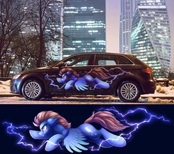 Size: 1647x1456 | Tagged: artist:dragonataxia, audi, audi a3, car, decal, irl, lightning dust, moscow, pegasus, photo, pony, safe, solo